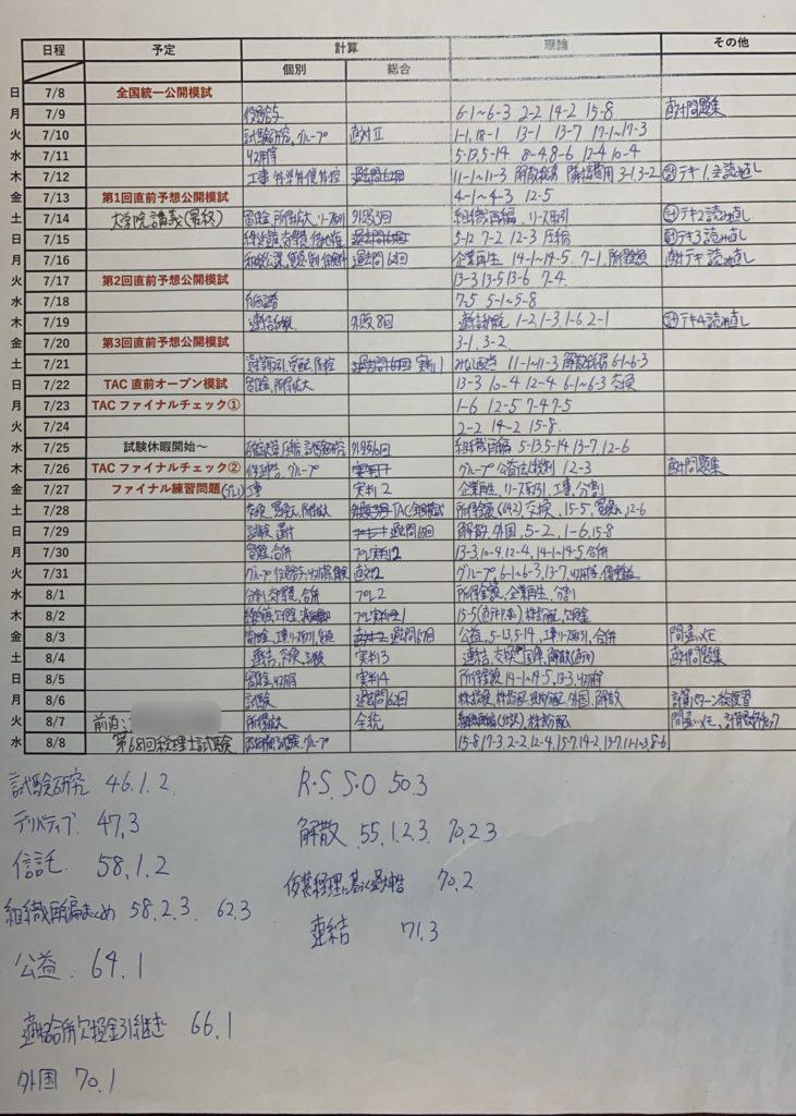 学習計画表